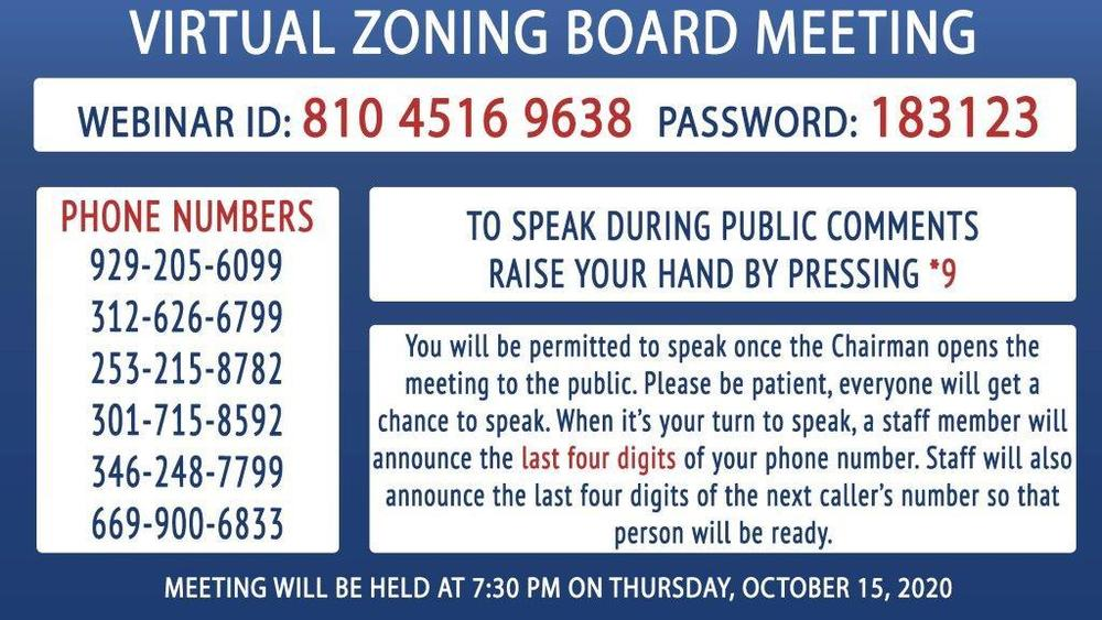 Virtual Zoning Board Meeting 10/15
