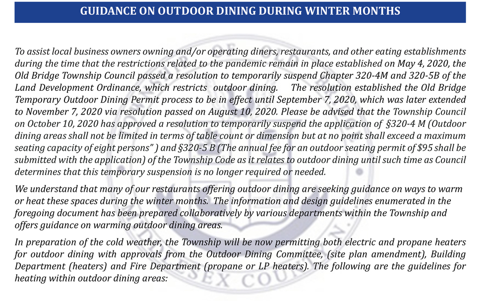 Guidance on Outdoor Dining During Winter Months