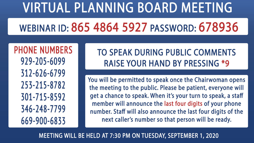 September 1st Virtual Planning Board Meeting