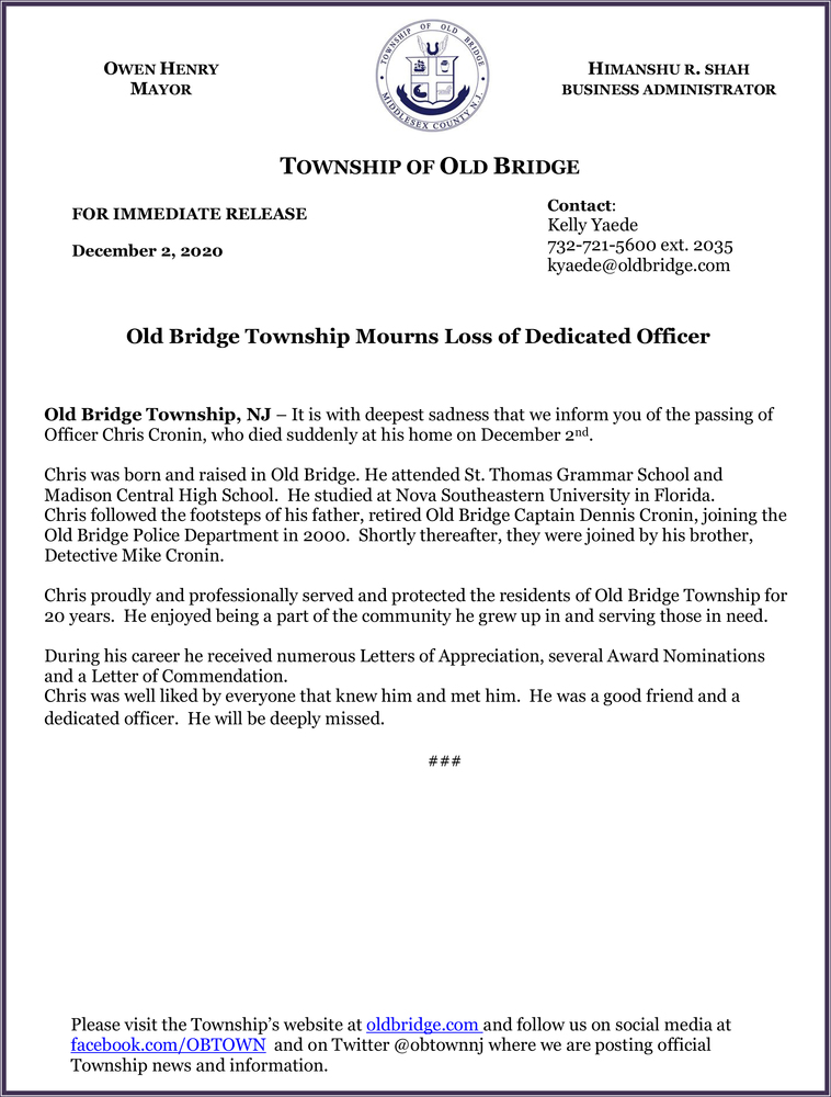Old Bridge Township Mourns Loss of Dedicated Officer