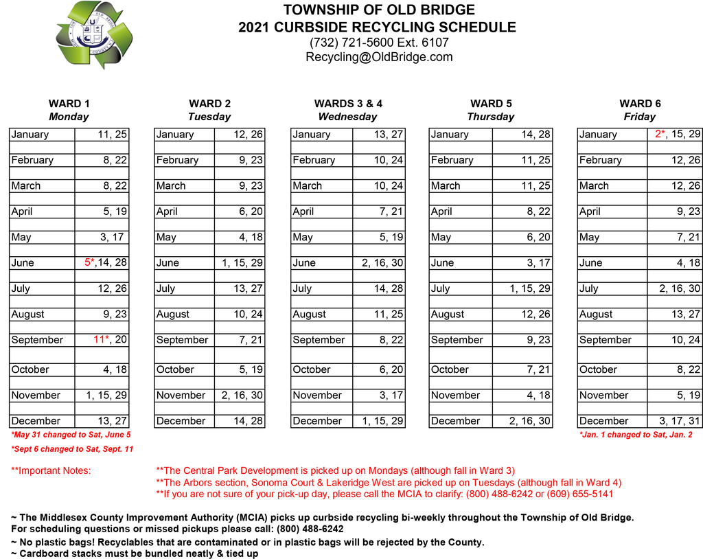 2021 Recycling Schedule