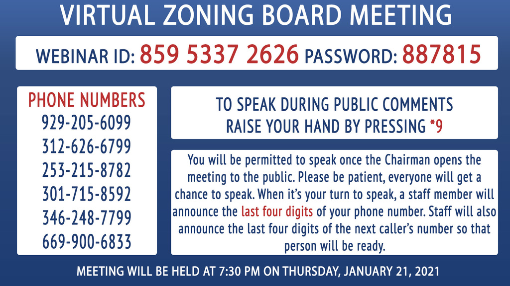 Zoning Board Call-in information
