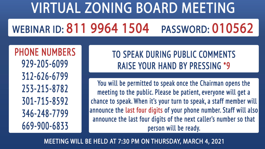 Zoning Meeting Info